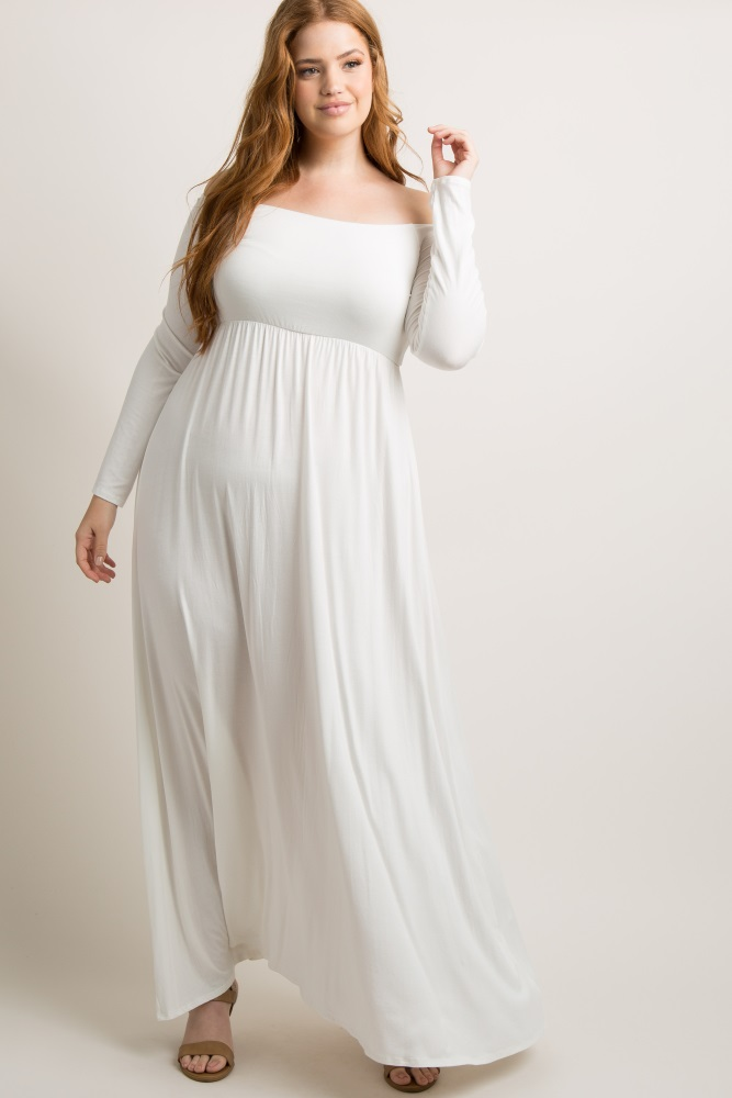 Ivory Solid Off Shoulder Plus Maternity Maxi Dress
