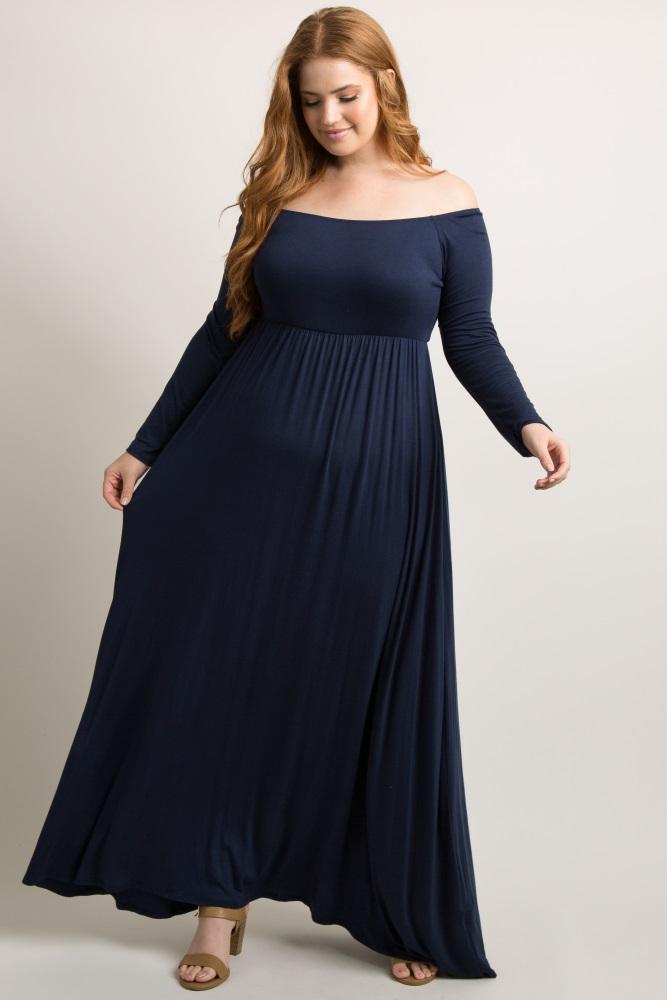 Navy Blue Solid Off Shoulder Maternity Plus Maxi Dress