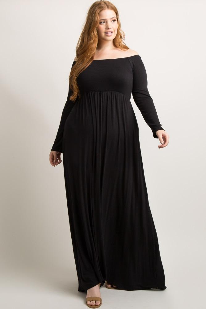 Black Solid Off Shoulder Plus Maxi Dress