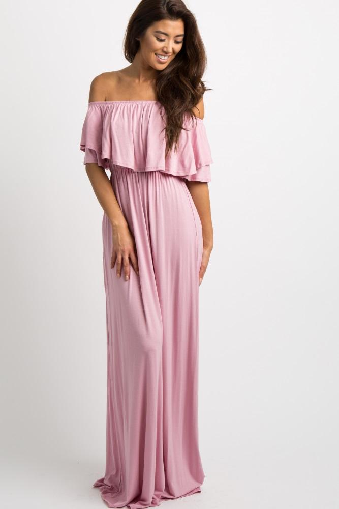 9d304d0297f Light Pink Off Shoulder Ruffle Trim Maternity Maxi Dress