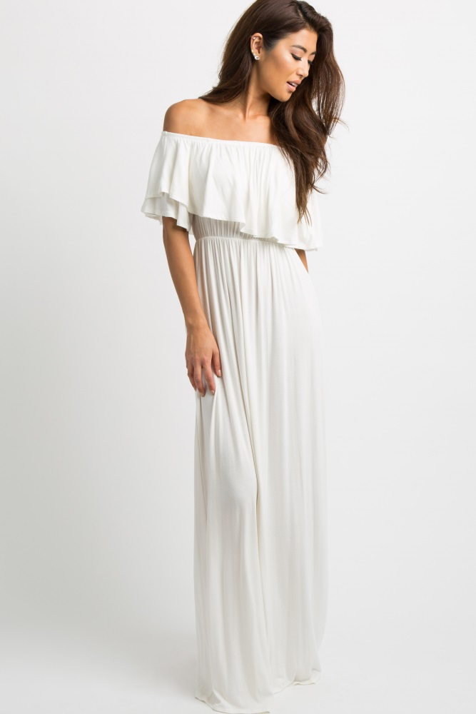 aa1c0eeb293d3 Ivory Off Shoulder Ruffle Trim Maternity Maxi Dress