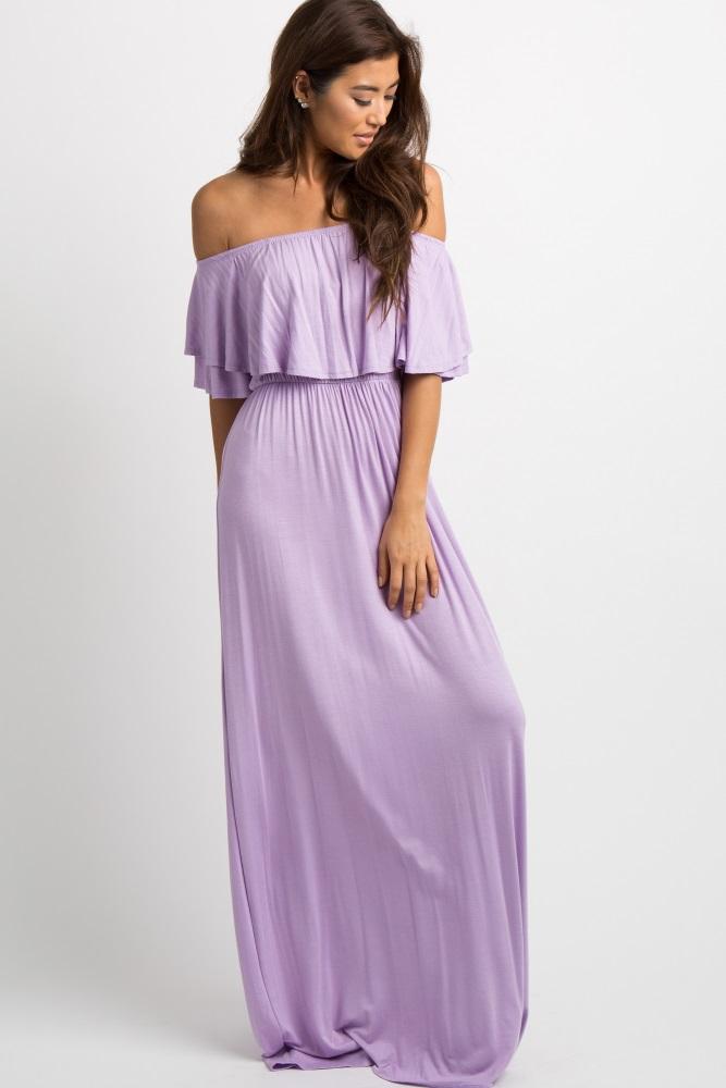 0d9e883dd5 Lavender Off Shoulder Ruffle Trim Maternity Maxi Dress