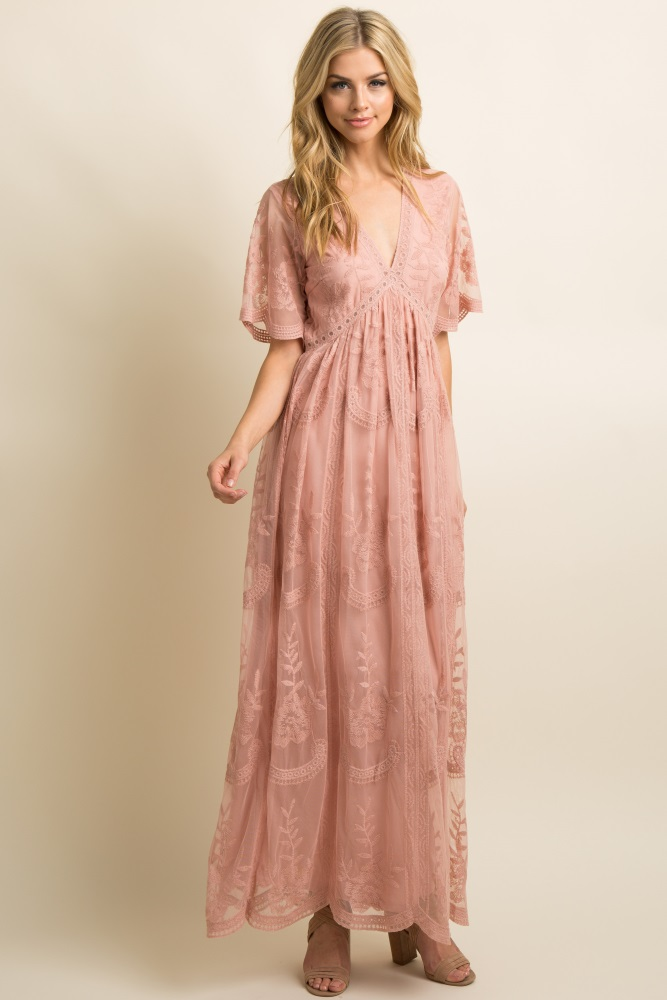 Light Pink Lace Mesh Overlay Maxi Dress