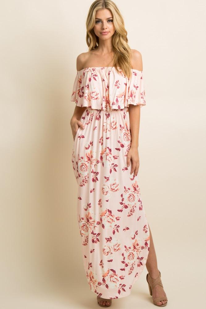 d82eb8d3b82 Light Pink Faded Rose Print Off Shoulder Maternity Maxi Dress
