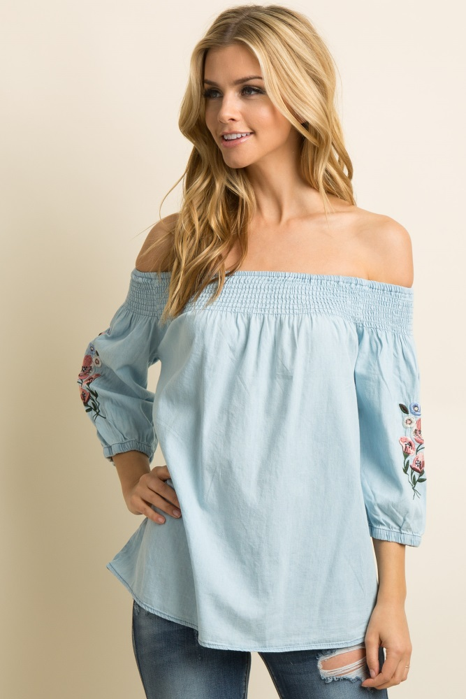 f639334b69a Light Blue Chambray Embroidered Smocked Maternity Top