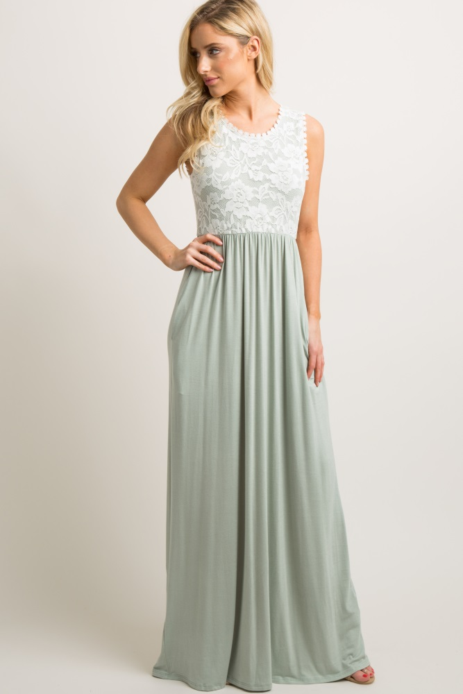 68a1984654 Sage Green Lace Overlay Top Maternity Maxi Dress