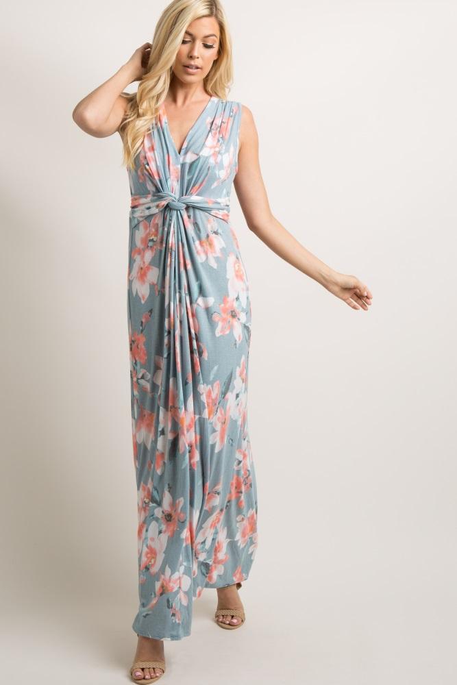 4281409e276 Light Blue Floral Sleeveless Knot Front Maternity Maxi Dress