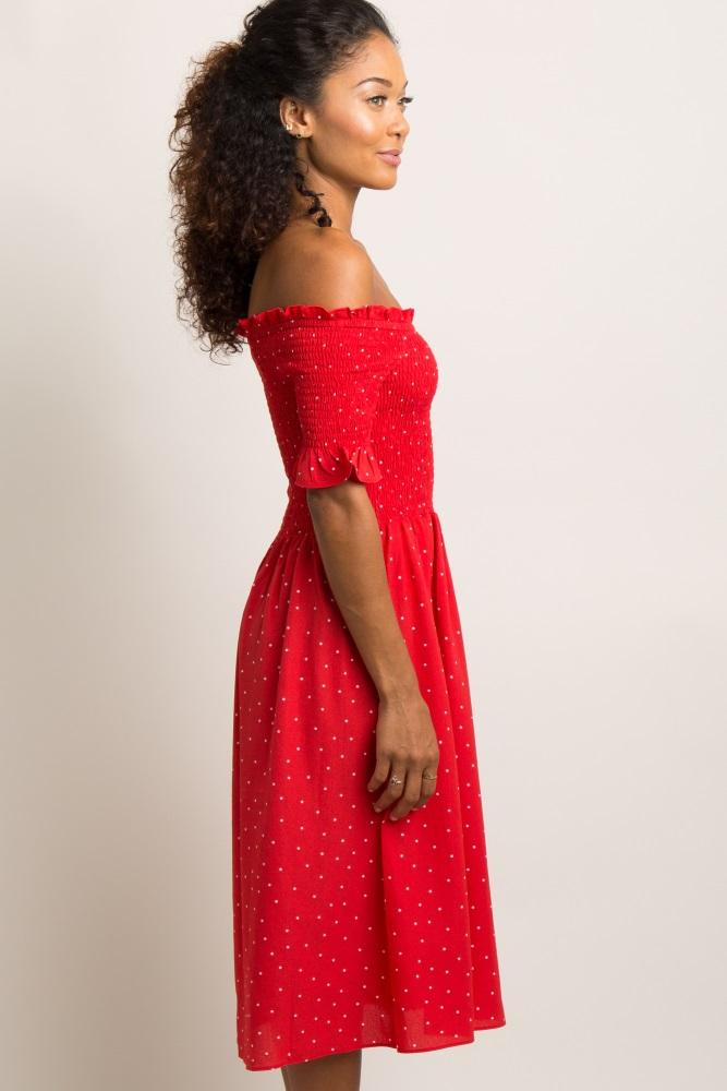 09c0f050ed01a Red Polka Dot Smocked Maternity Midi Dress