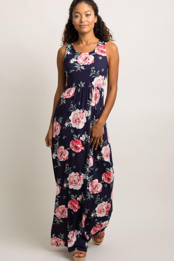 navy blue rose print sleeveless maxi dress