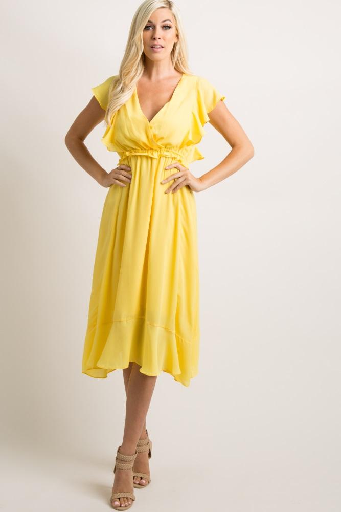 f5cf529cb31 Yellow Chiffon Butterfly Sleeve Maternity Midi Dress