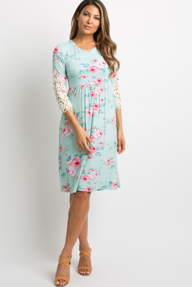 7d2c3d37db8 Mint Green Floral Crochet Sleeve Maternity Dress