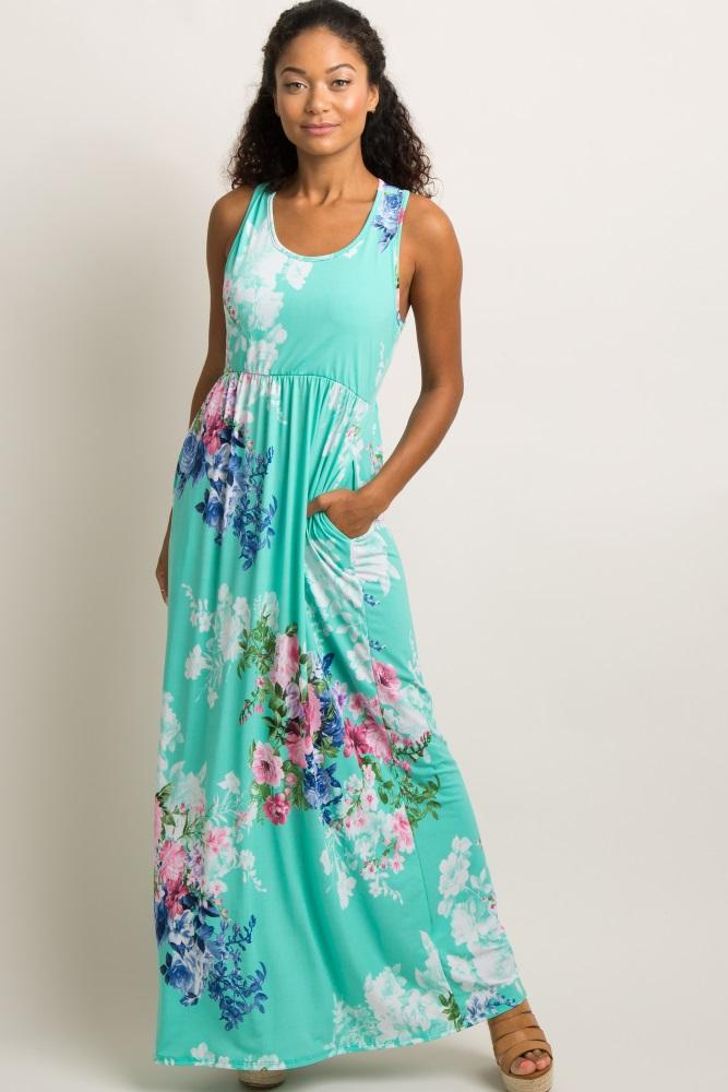 0d2b3e8a5fc Mint Green Floral Sleeveless Racerback Maternity Maxi Dress