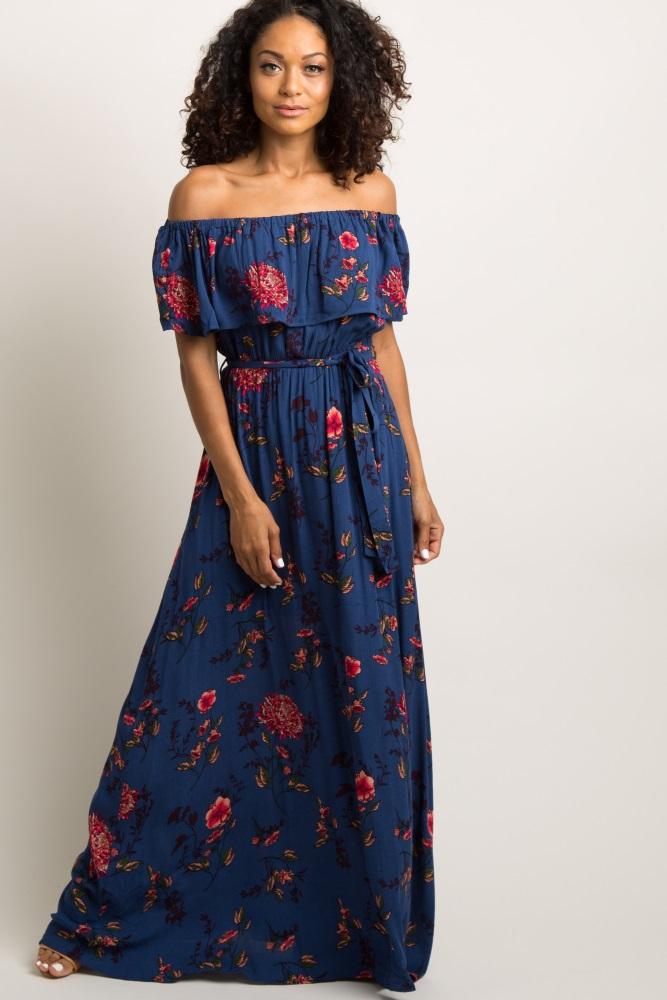9a89f58241f02 Navy Blue Floral Ruffle Off Shoulder Maxi Dress