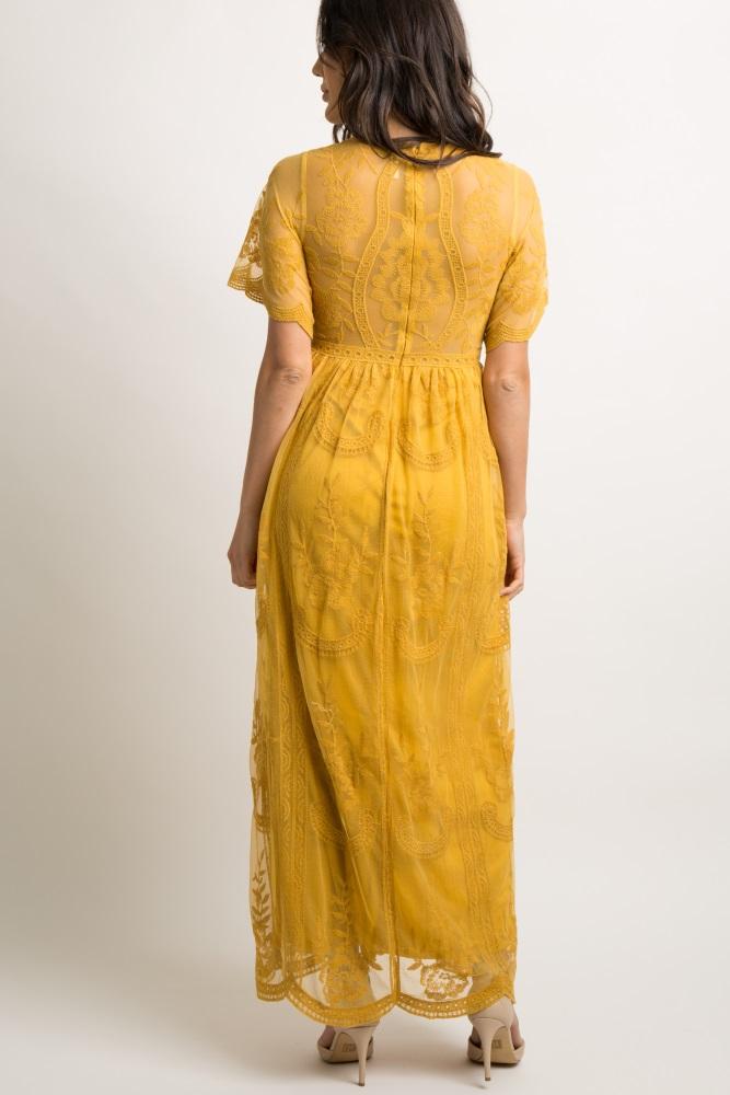 2b596050b6e Mustard Lace Mesh Overlay Maternity Maxi Dress