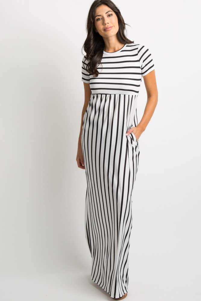 great varieties new collection best collection Black Striped Short Sleeve Maxi Dress
