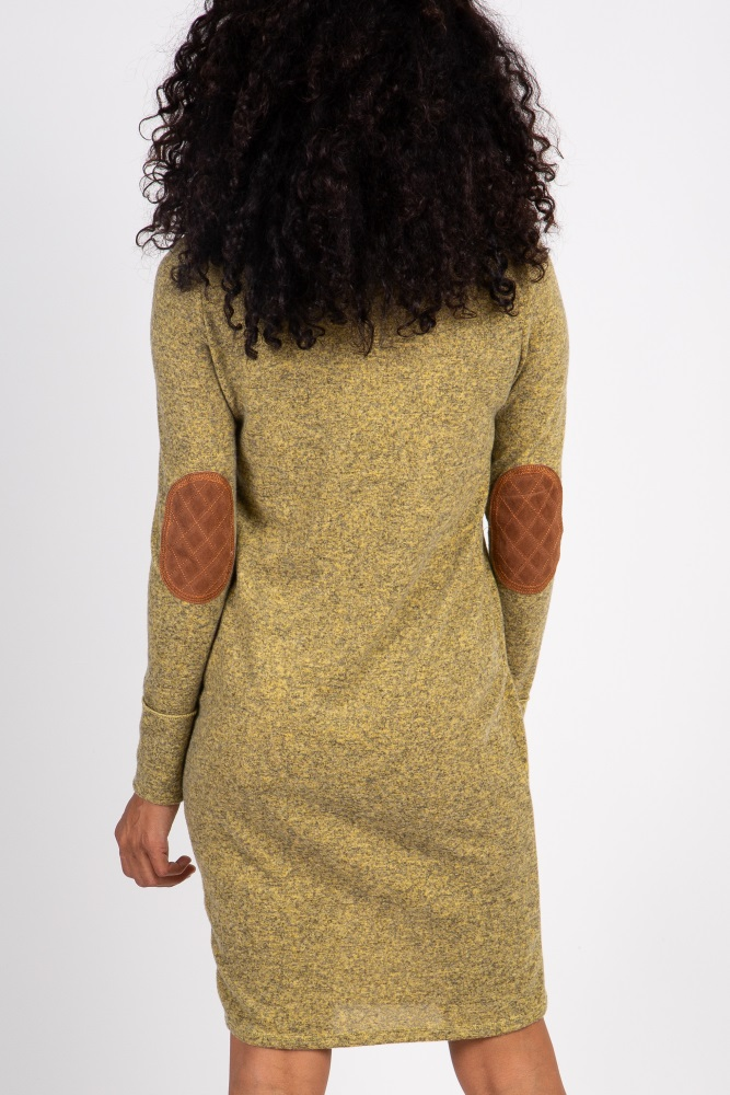 1a3a6fc03a7da Heather Yellow Suede Elbow Patch Sleeve Maternity Dress