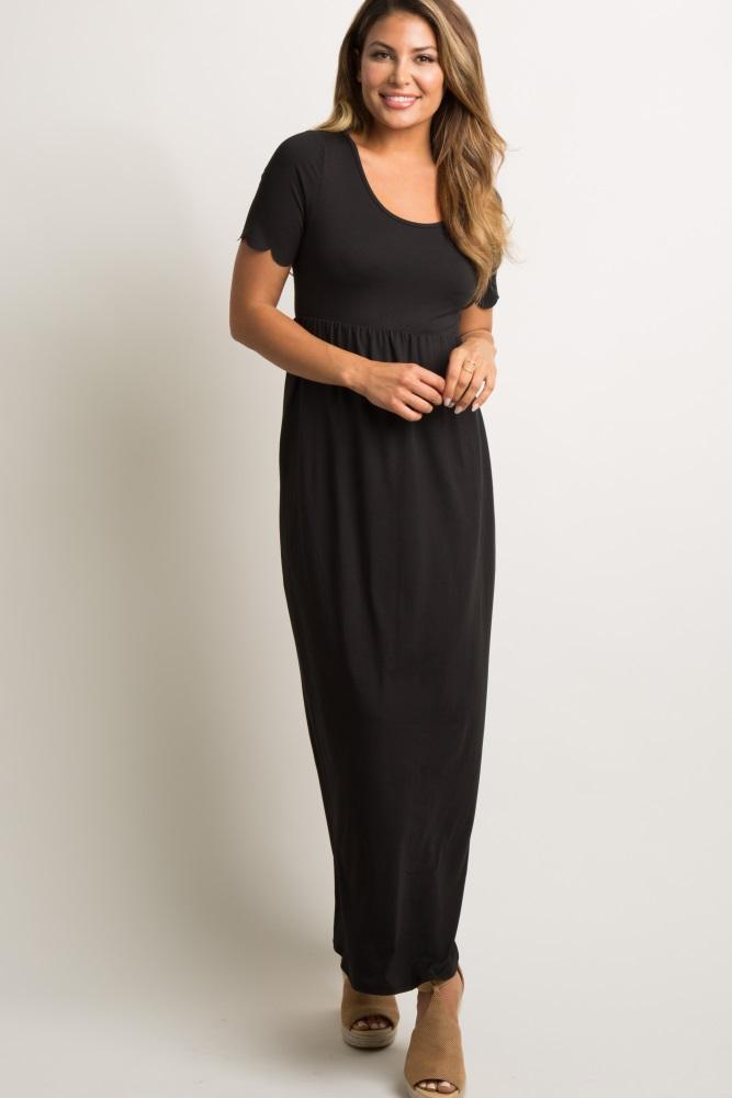 black scalloped sleeve maxi dress
