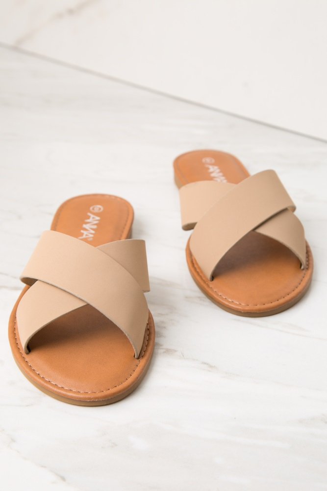 f5b9b2c85008 Taupe Faux Leather Crisscross Slide Sandals