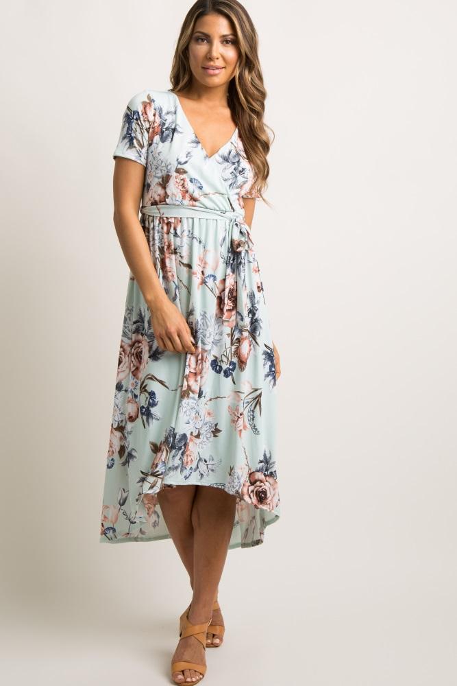 5acead32e1839 Mint Floral Hi Low Maternity/Nursing Wrap Midi Dress
