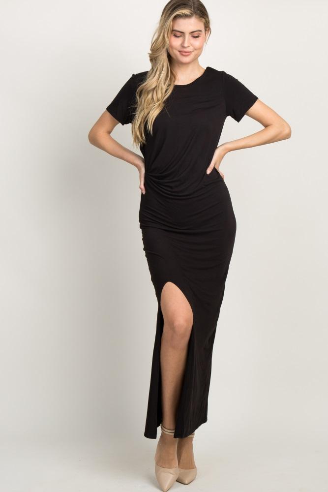 black draped gathered accent maxi dress