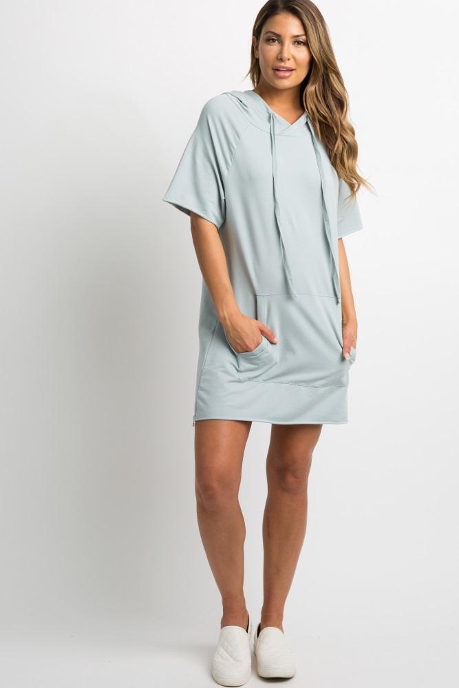 9aacf88a0476 Light Blue Drawstring Hooded Maternity Dress