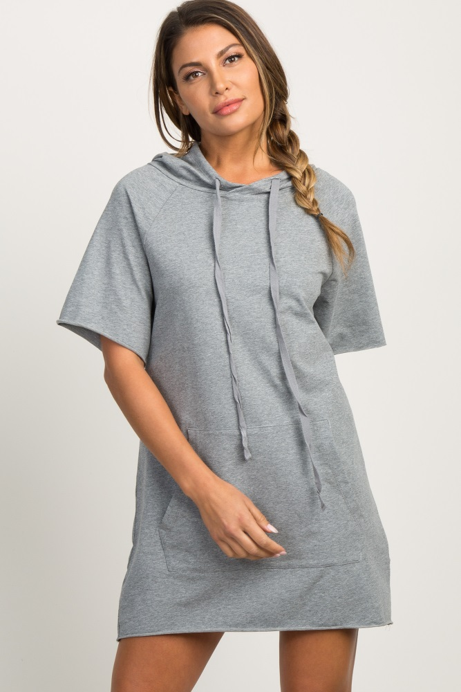 heather grey drawstring hooded dress