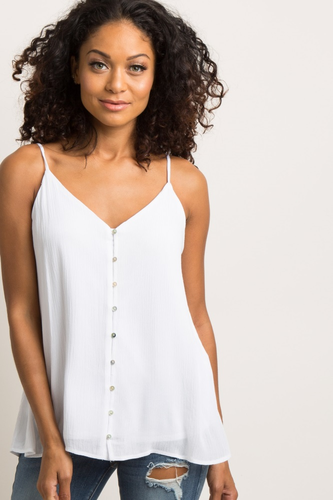 9cf6e1ffd6c White Solid Button Front Maternity Cami Top