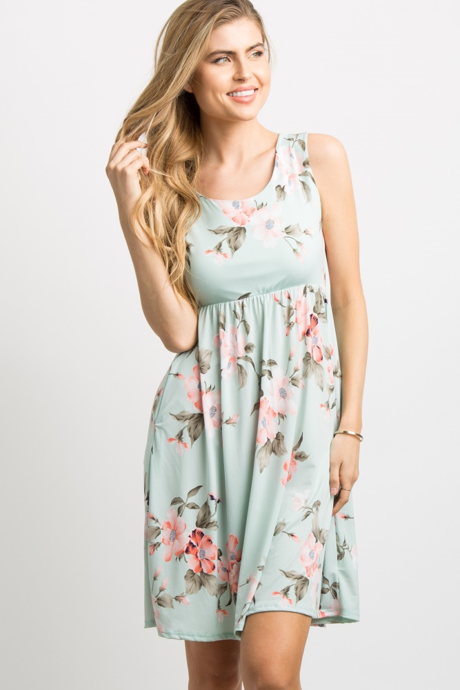 1892cb2ad3 Mint Green Floral Sleeveless Maternity Dress