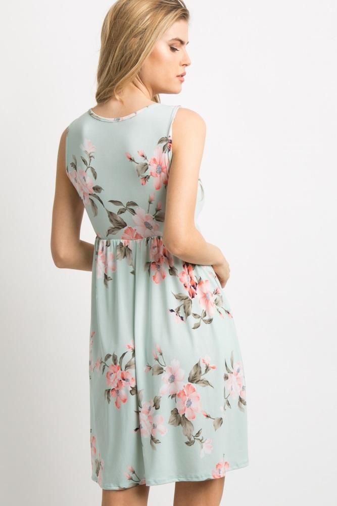 1892cb2ad3 Mint Green Floral Sleeveless Maternity Dress