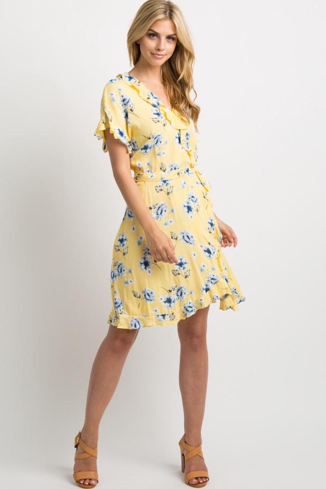 0e7c46e3db2 Yellow Floral Ruffle Wrap Dress