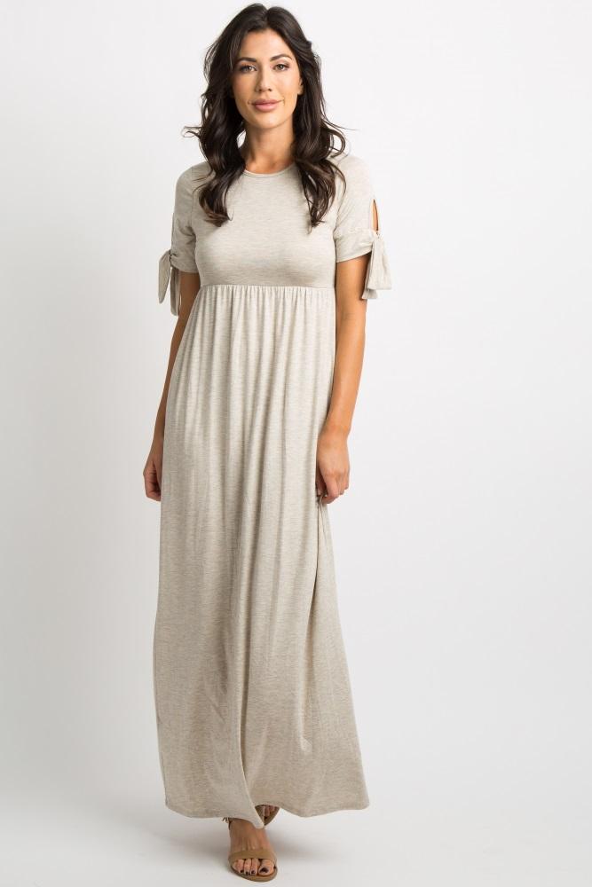 beige solid sleeve tie maxi dress