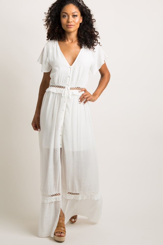 6c4b035e7db White Button Front Crochet Panel Maxi Dress
