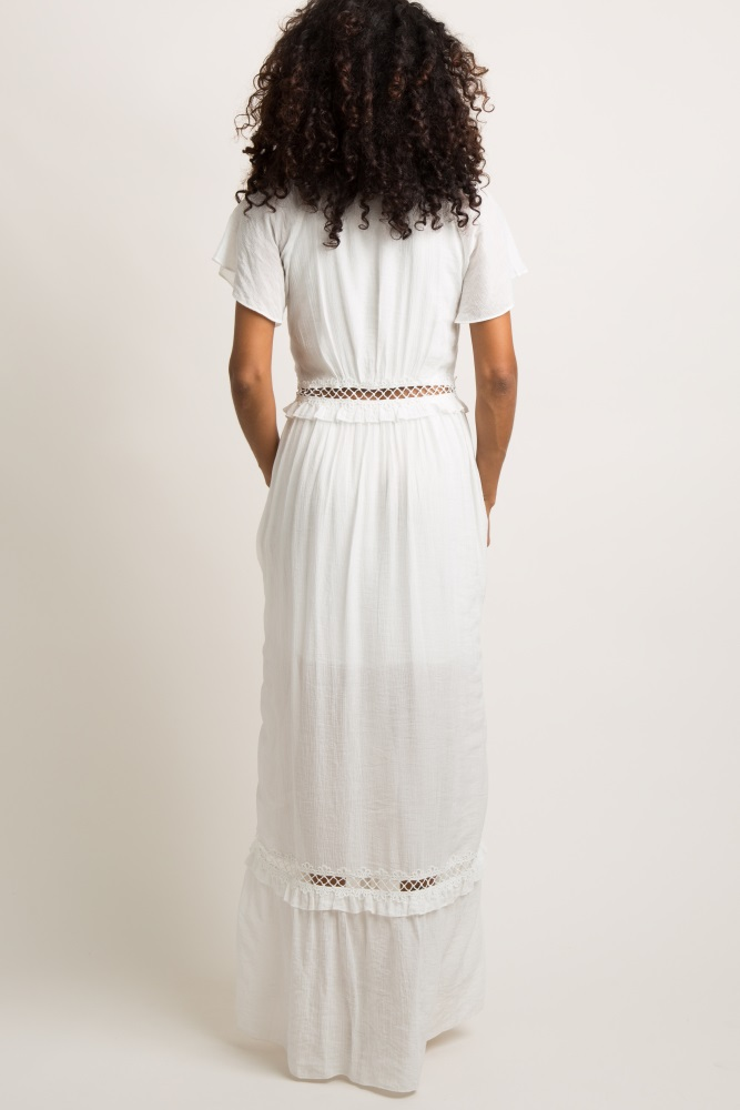 08df6fee6b8 White Button Front Crochet Panel Maxi Dress