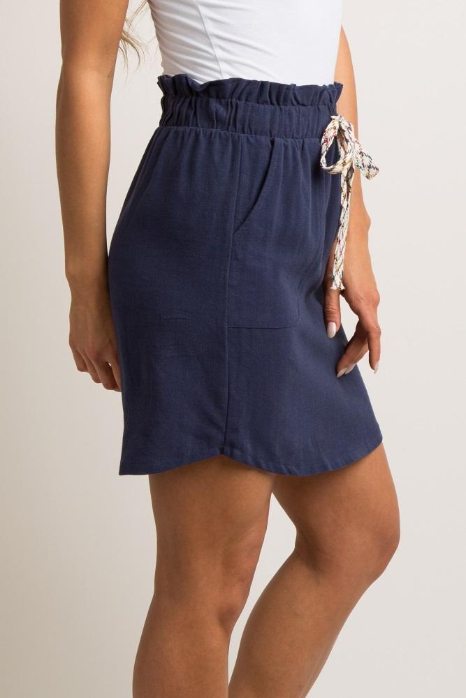 178c2886a604c Navy Blue Drawstring Linen Maternity Skirt