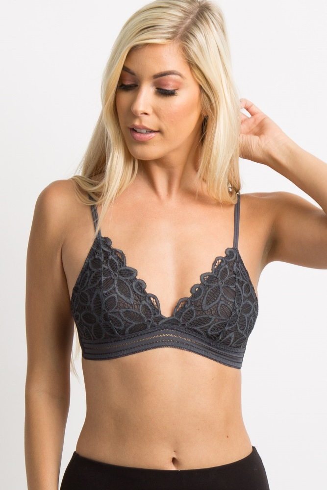 0fee0fa86 Charcoal Lace Maternity Bralette