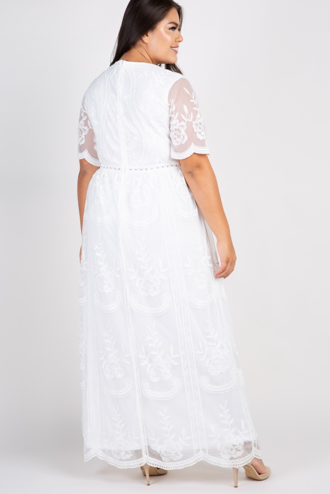 White Lace Mesh Overlay Plus Maxi Dress