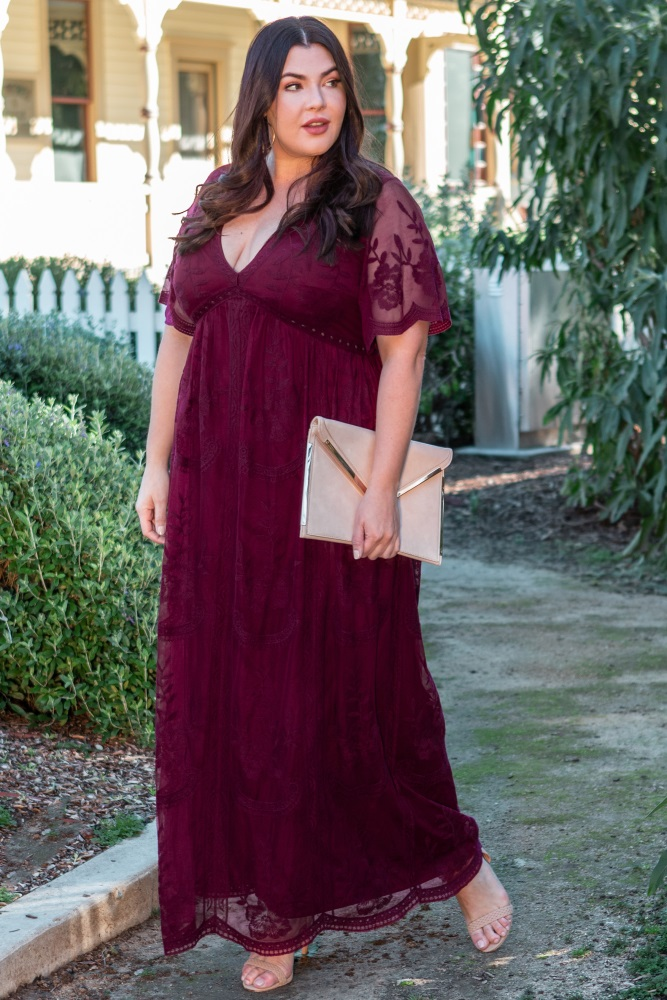 42c484139dc9 Burgundy Lace Mesh Overlay Plus Maternity Maxi Dress