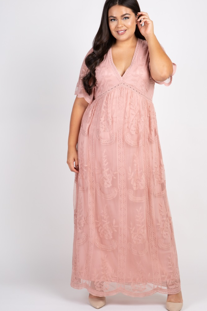 Light Pink Lace Mesh Overlay Plus Maternity Maxi Dress