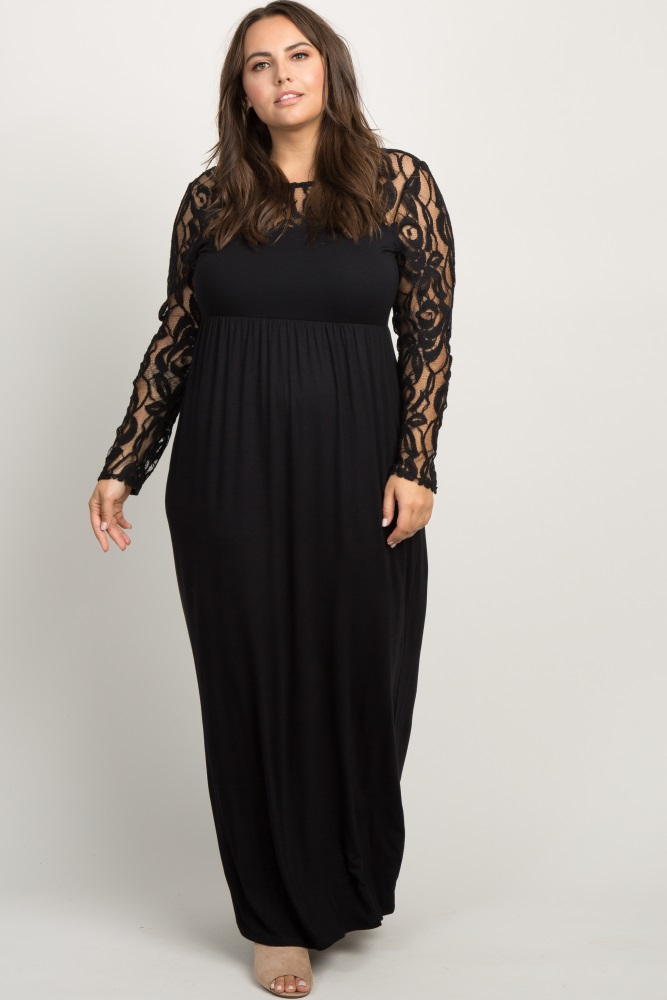 Black Lace Sleeve Plus Maxi Dress