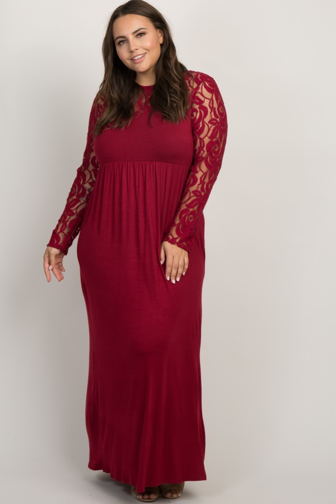 Burgundy Lace Sleeve Plus Maxi Dress