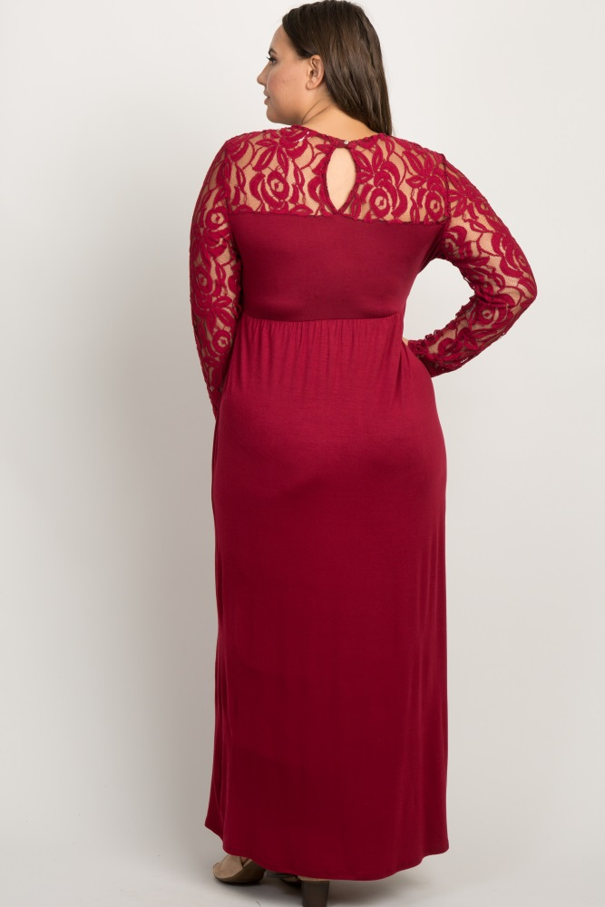 b07305a242112 Burgundy Lace Sleeve Plus Maternity Maxi Dress