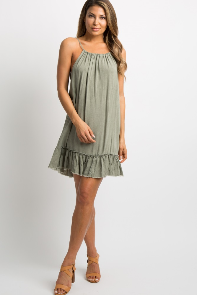 b5eb0aab78f Olive Green Ruffle Fringe Trim Halter Maternity Dress