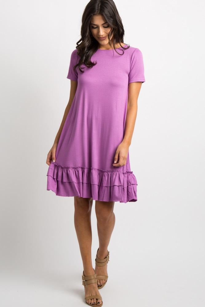 2c7d7e6326b Violet Short Sleeve Ruffle Trim Maternity Dress