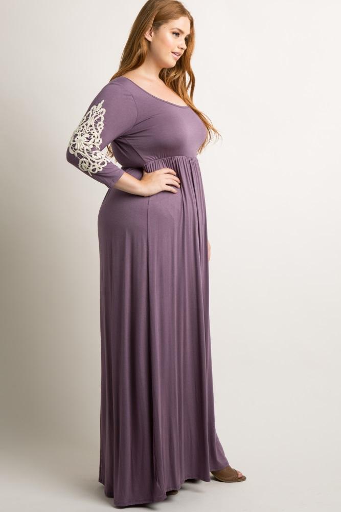 Purple Crochet Sleeve Plus Maxi Dress
