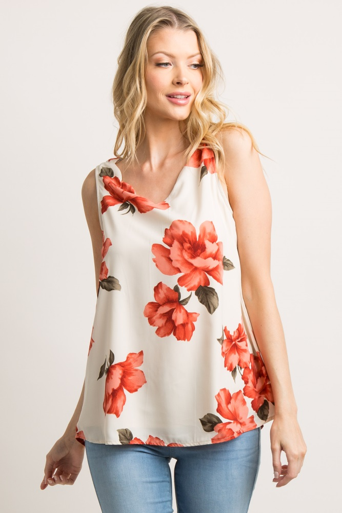 ivory floral scalloped blouse
