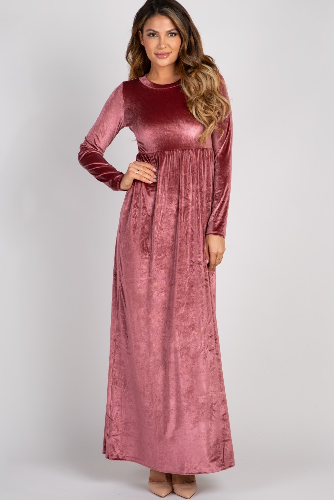mauve basic velvet maxi dress