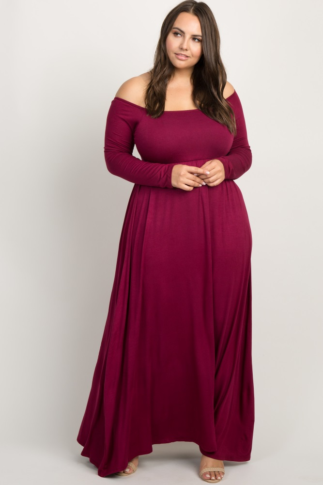 Burgundy Solid Off Shoulder Plus Maxi Dress