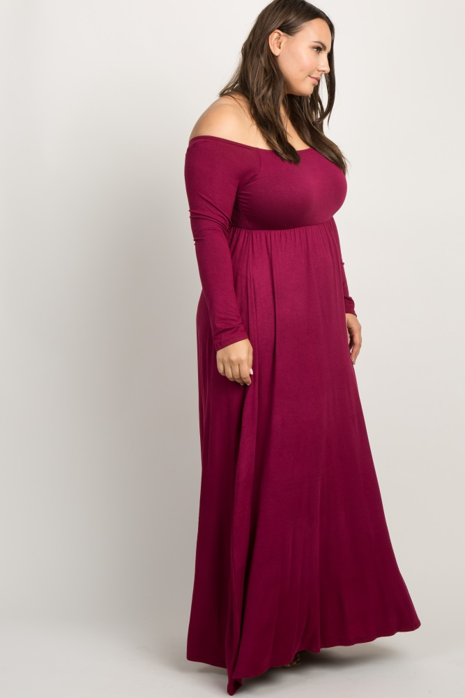 2facac2aeeb0 Burgundy Solid Off Shoulder Plus Maternity Maxi Dress