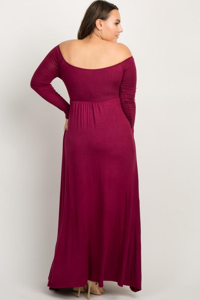 ec6ce8f345c Burgundy Solid Off Shoulder Plus Maternity Maxi Dress