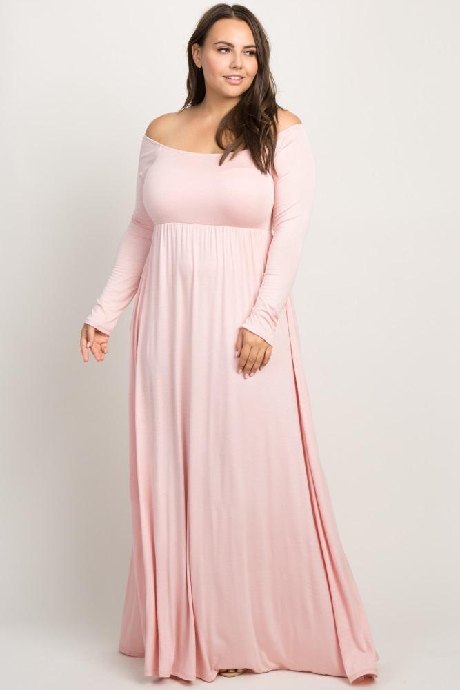 Pink Solid Off Shoulder Plus Maxi Dress